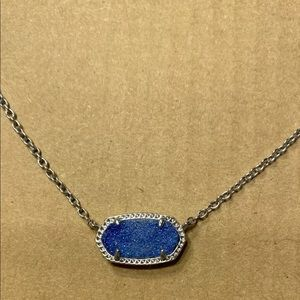 Kendra Scott Elisa Necklace - Silver w Blue Drusy